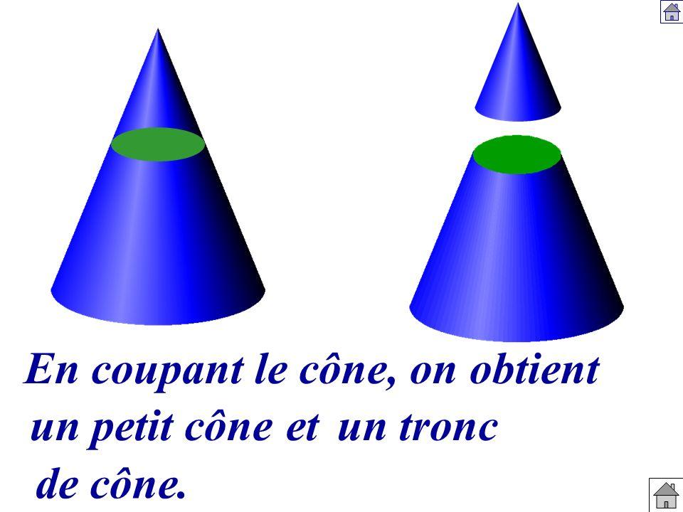 En coupant le cône, on obtient un petit côneetun tronc de cône.