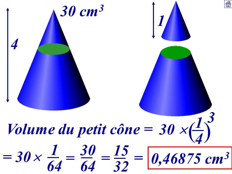 Volume du petit cône = 1414 4 1 30 cm 3 30 () 3 = 30 1 64 30 64 = 15 32 = = 0,46875 cm 3
