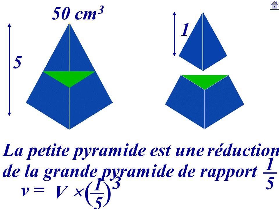 5 1 50 cm 3 La petite pyramide est une 1515 v = V 1515 () 3 réduction de la grande pyramide de rapport