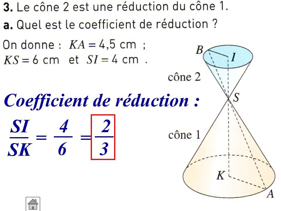 Coefficient de réduction : SI = 4 6 SK = 2 3