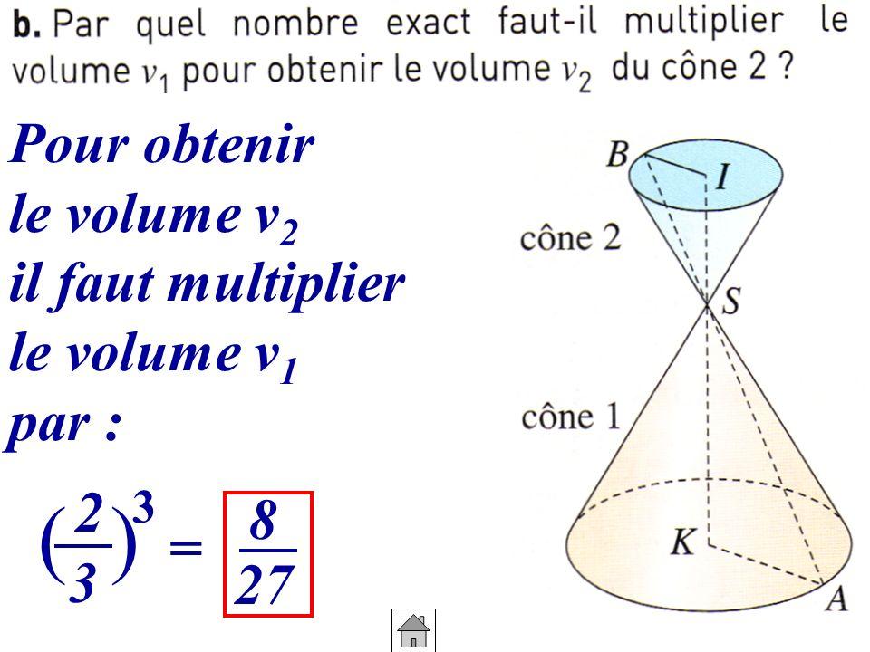 Pour obtenir le volume v 2 il faut multiplier le volume v 1 par : 2 3 () 3 = 8 27