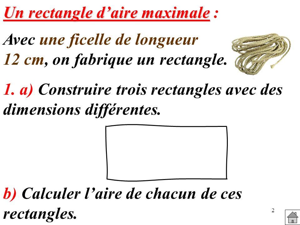2 Un rectangle daire maximale Un rectangle daire maximale : Avec une ficelle de longueur 12 cm, on fabrique un rectangle.
