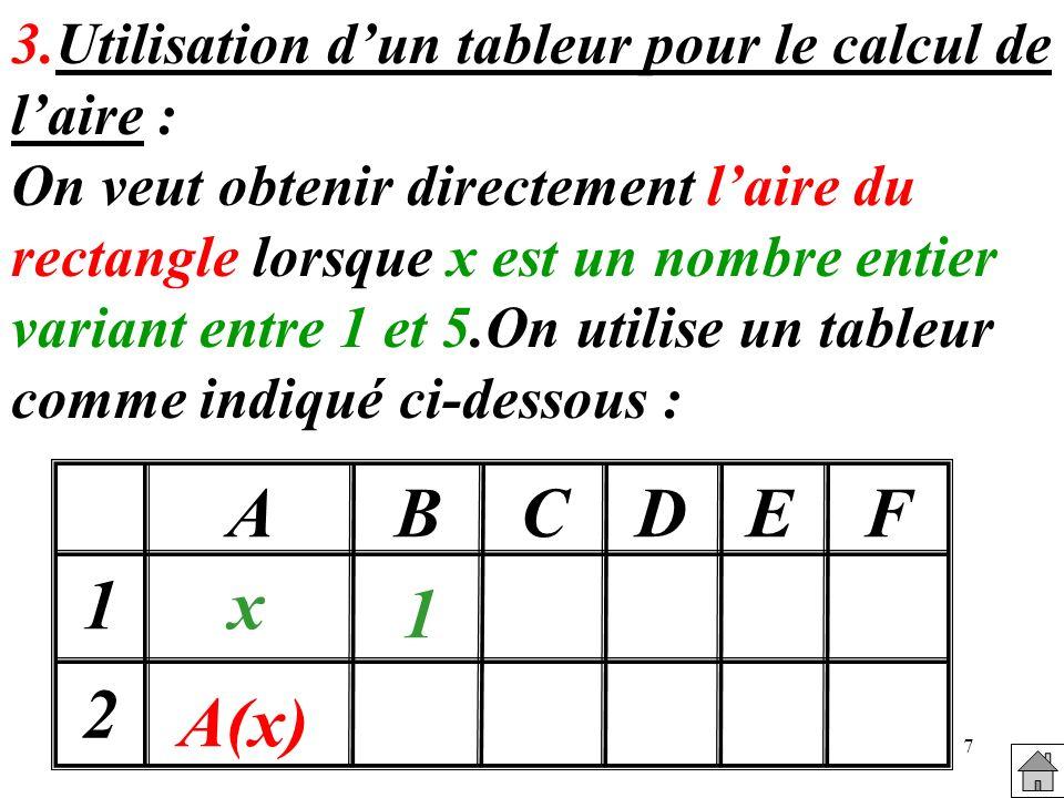 7 3.Utilisation dun tableur pour le calcul de laire : On veut obtenir directement laire du rectangle lorsque x est un nombre entier variant entre 1 et 5.On utilise un tableur comme indiqué ci-dessous : x A(x) 1 2 1 ABCDEF