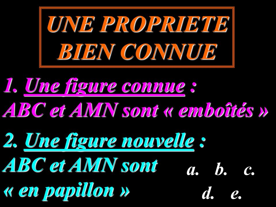 1. Une figure connue : ABC et AMN sont « emboîtés » UNE PROPRIETE BIEN CONNUE 2. Une figure nouvelle : ABC et AMN sont « en papillon » a.b.c. d.e.