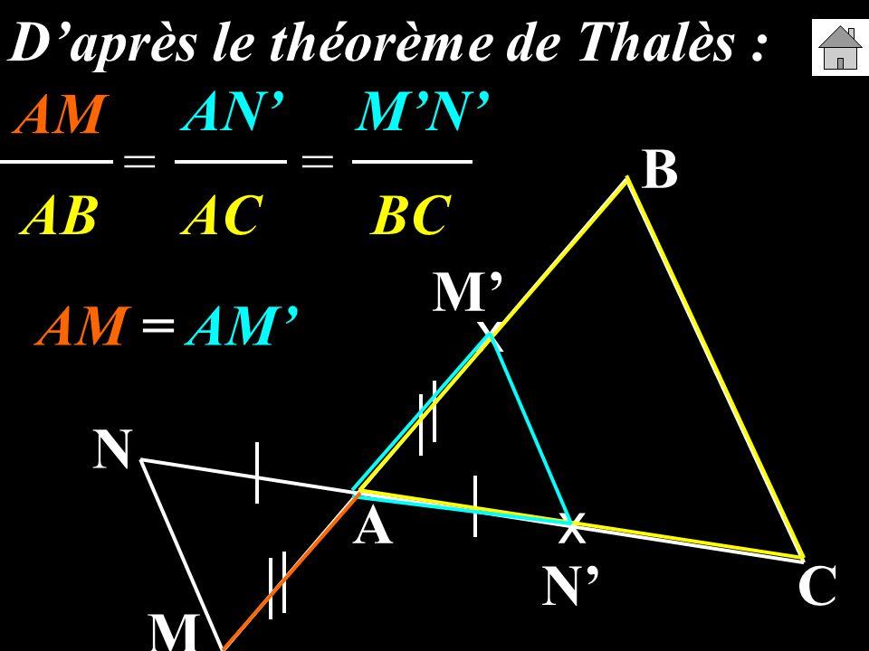A B C M N x x M N Daprès le théorème de Thalès : AMANMN AB AC BC == AM = AM AM