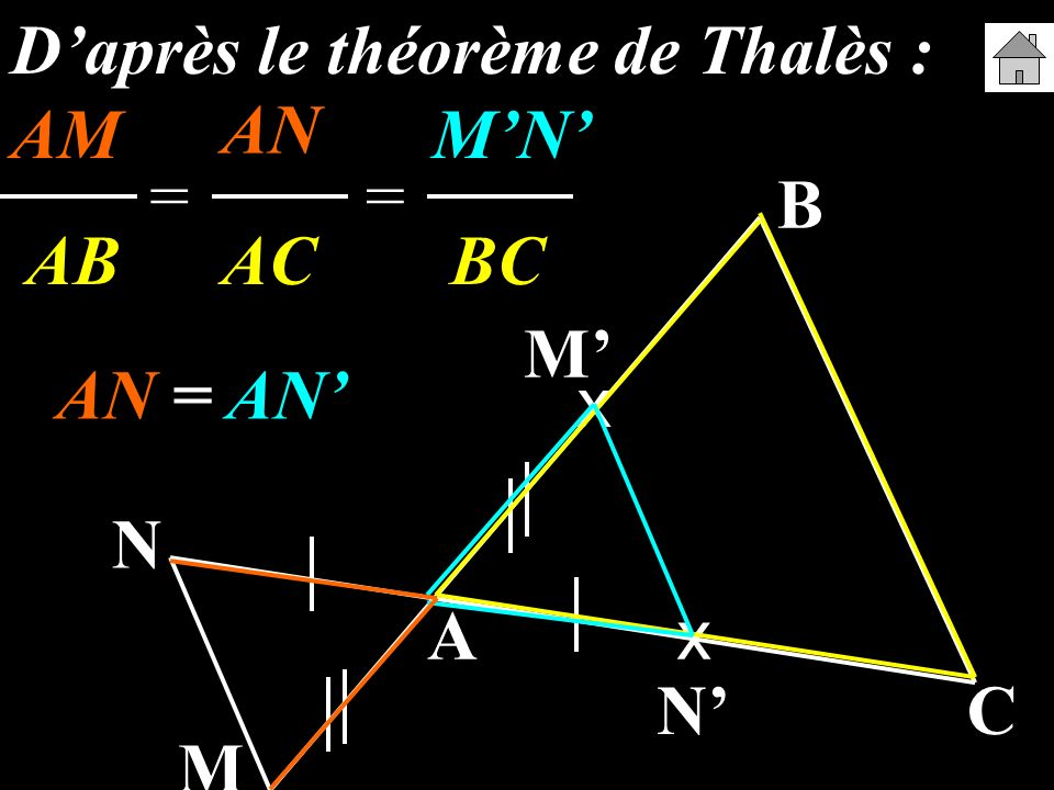 A B C M N x x M N Daprès le théorème de Thalès : AM ANMN AB AC BC == AN = AN AN