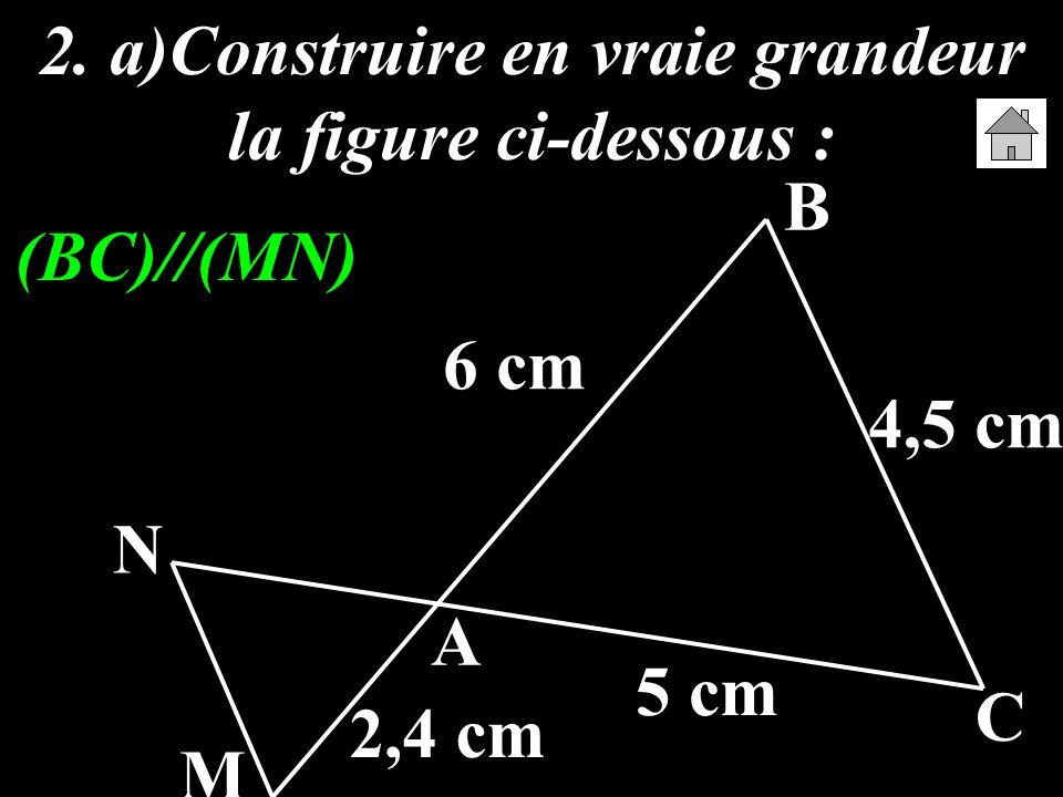 2. a)Construire en vraie grandeur la figure ci-dessous : A B C M N 6 cm 5 cm 4,5 cm 2,4 cm (BC)//(MN)