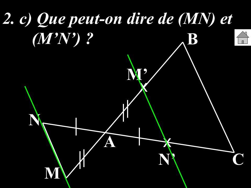 2. c) Que peut-on dire de (MN) et (MN) ? A B C M N x x M N