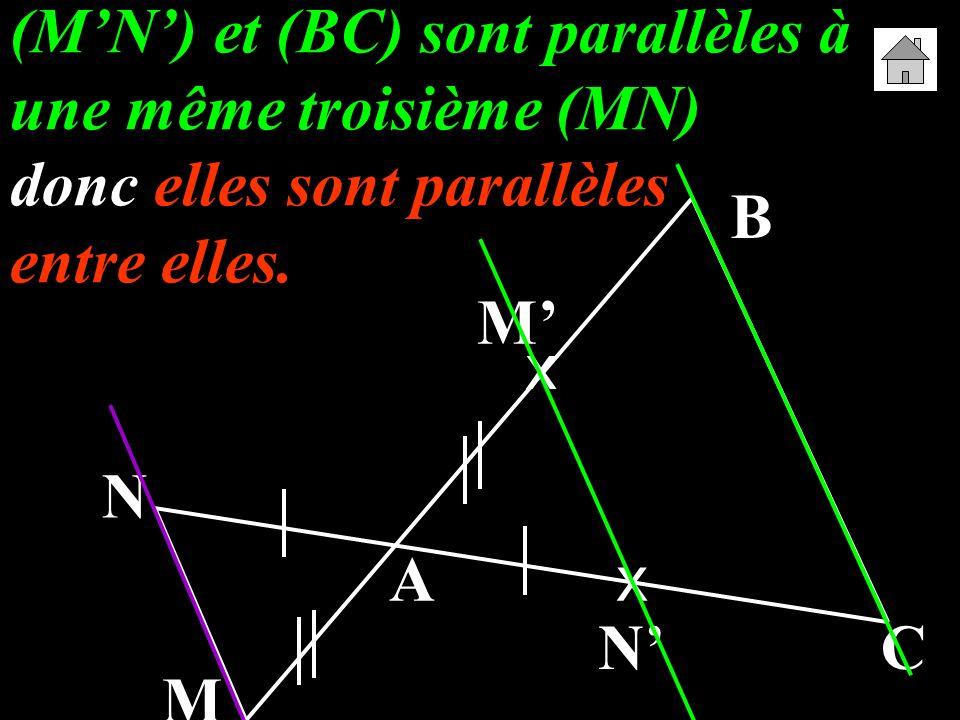 (MN) et (BC) sont parallèles à une même troisième (MN) donc elles sont parallèles entre elles. A B C M N x x M N