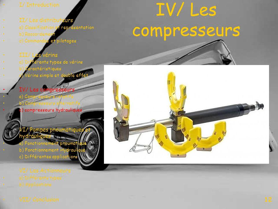 IV/ Les compresseurs 12 I/ Introduction II/ Les distributeurs a) Classification et représentation b) Raccordement c) Commandes et pilotages III/ Les v