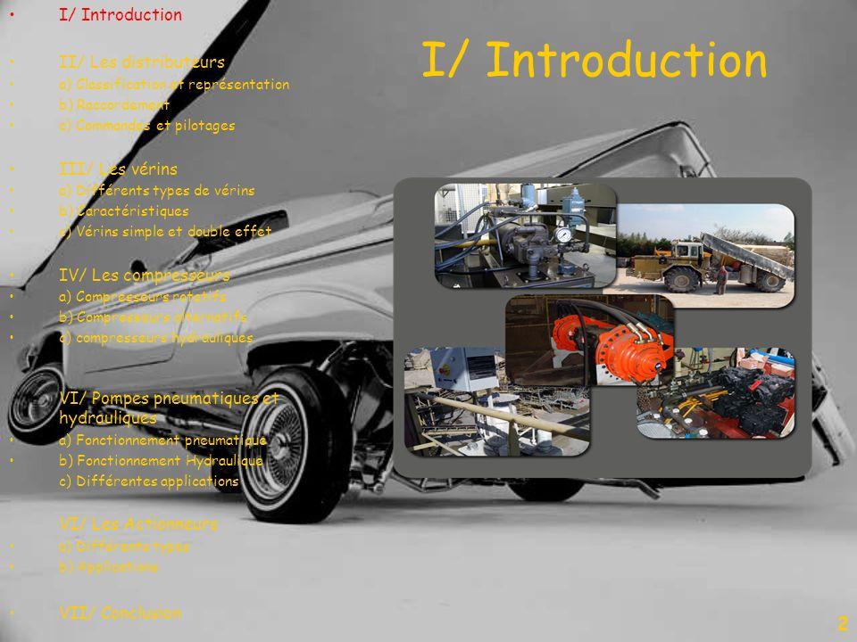 I/ Introduction 2 II/ Les distributeurs a) Classification et représentation b) Raccordement c) Commandes et pilotages III/ Les vérins a) Différents ty