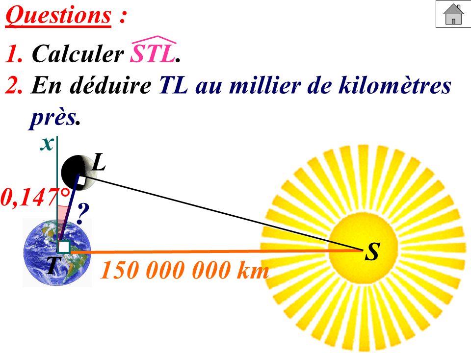Questions : 1. Calculer STL. 2. En déduire TL au millier de kilomètres près. x S T L S 0,147° ? 150 000 000 km