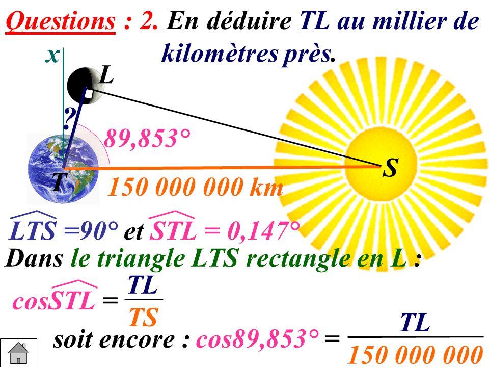 x S T L S ? 150 000 000 km Dans le triangle LTS rectangle en L : cosSTL = soit encore : Questions : 2. En déduire TL au millier de kilomètres près. 89