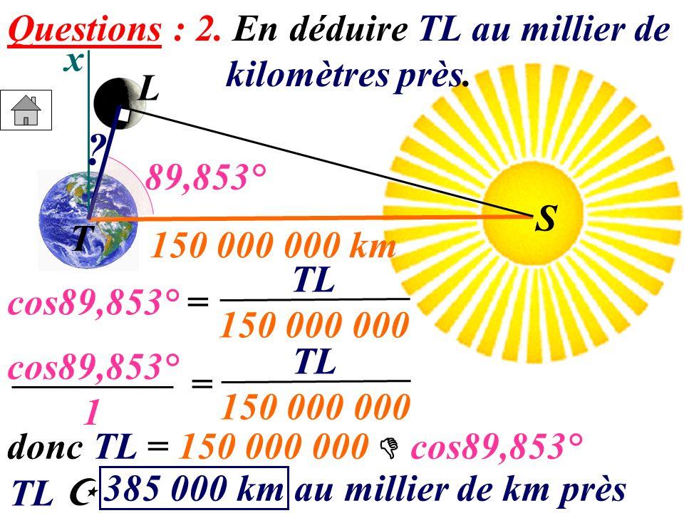 x S T L S ? 150 000 000 km 89,853° cos89,853° = TL 150 000 000 cos89,853° 1 = TL 150 000 000 donc TL = 150 000 000 cos89,853° Questions : 2. En déduir
