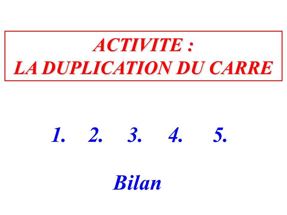 ACTIVITE : LA DUPLICATION DU CARRE 1.2.3. Bilan 4.5.