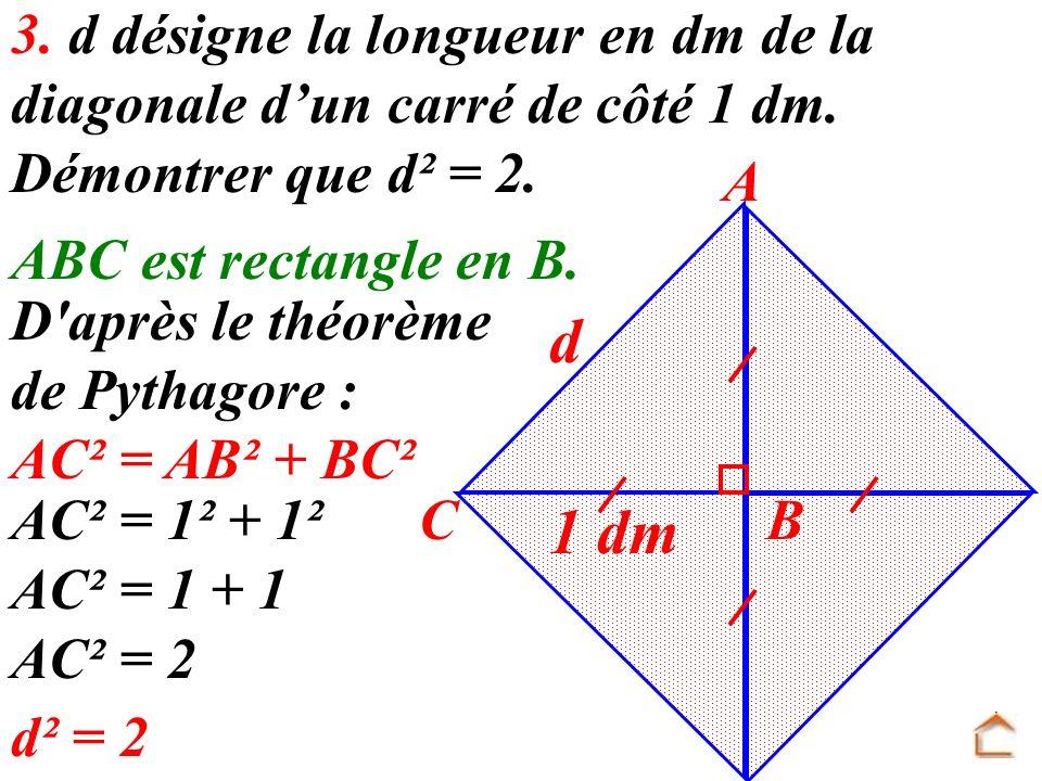 3. d désigne la longueur en dm de la diagonale dun carré de côté 1 dm. Démontrer que d² = 2. 1 dm A BC d ABC est rectangle en B. D'après le théorème d