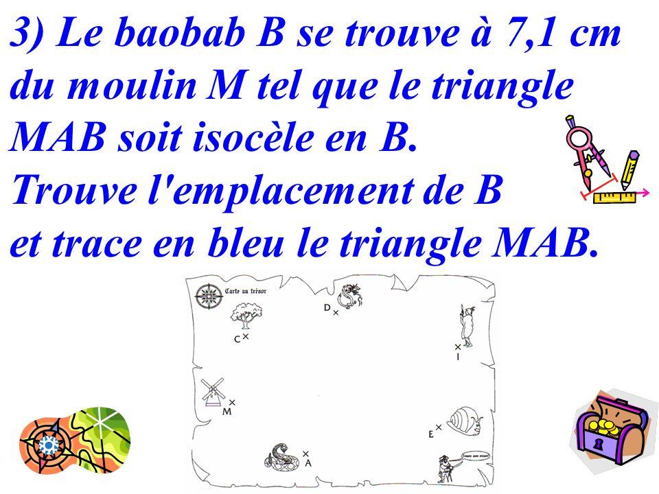 10 3) Le baobab B se trouve à 7,1 cm du moulin M tel que le triangle MAB soit isocèle en B. Trouve l'emplacement de B et trace en bleu le triangle MAB