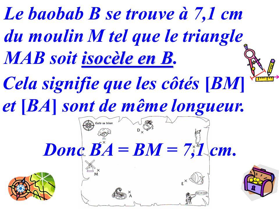 12 isocèle en B Le baobab B se trouve à 7,1 cm du moulin M tel que le triangle MAB soit isocèle en B. Cela signifie que les côtés [BM] et [BA] sont de