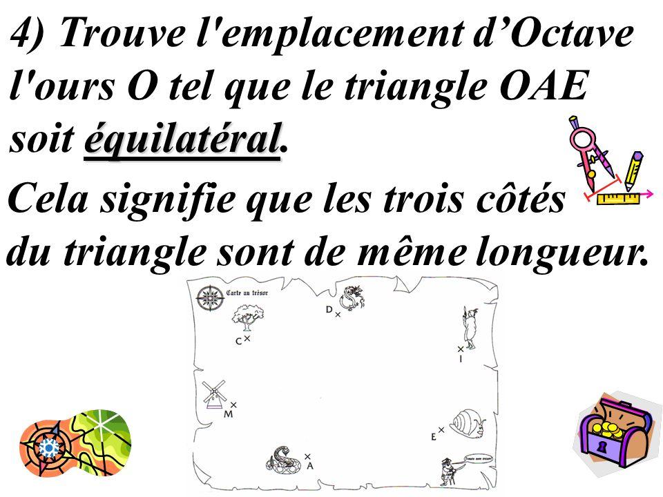 15 équilatéral 4) Trouve l'emplacement dOctave l'ours O tel que le triangle OAE soit équilatéral. Cela signifie que les trois côtés du triangle sont d