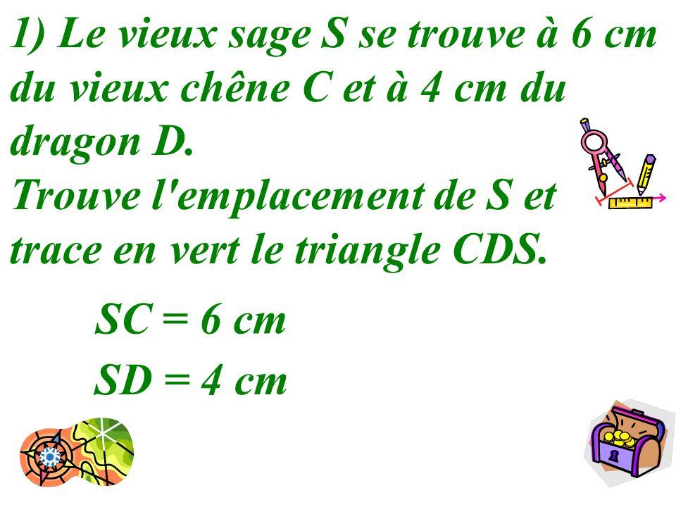 3 1) Le vieux sage S se trouve à 6 cm du vieux chêne C et à 4 cm du dragon D. Trouve l'emplacement de S et trace en vert le triangle CDS. SC = 6 cm SD