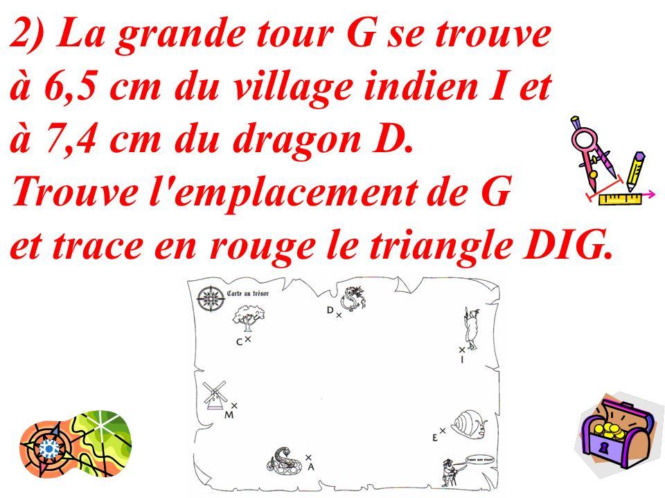 6 2) La grande tour G se trouve à 6,5 cm du village indien I et à 7,4 cm du dragon D. Trouve l'emplacement de G et trace en rouge le triangle DIG.