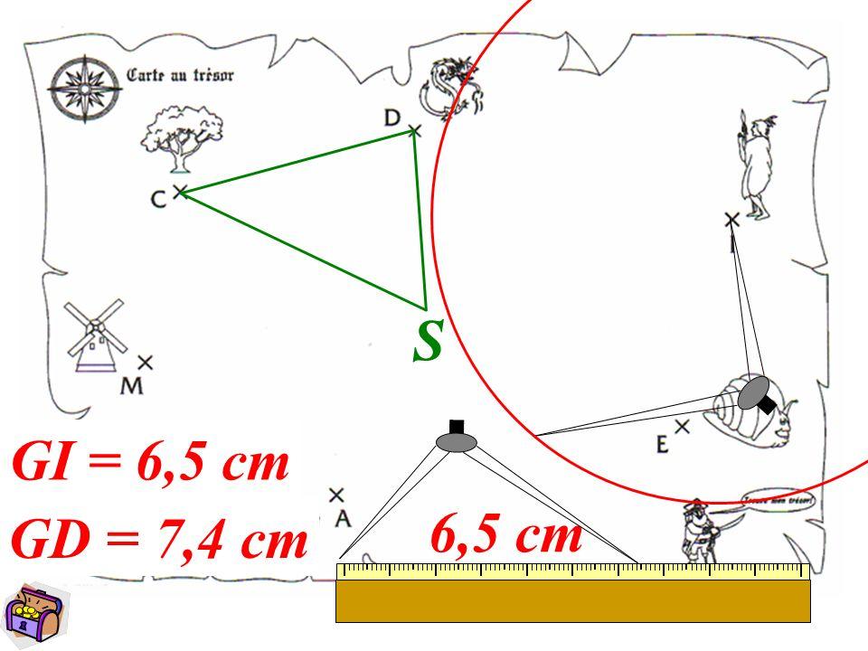 9 S 7,4 cm G GI = 6,5 cm GD = 7,4 cm