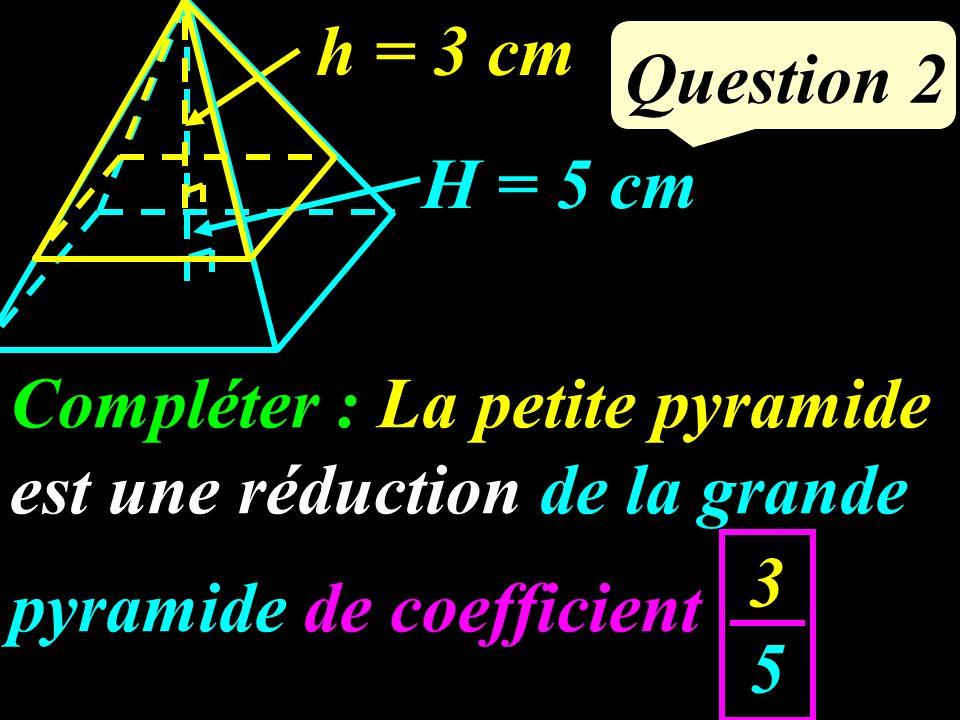 Compléter : La petite pyramide est une réduction de la grande pyramide de coefficient … Question 2 H = 5 cm h = 3 cm 3535