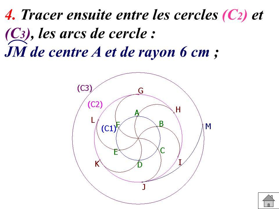 4. Tracer ensuite entre les cercles (C 2 ) et (C 3 ), les arcs de cercle : JM de centre A et de rayon 6 cm ;