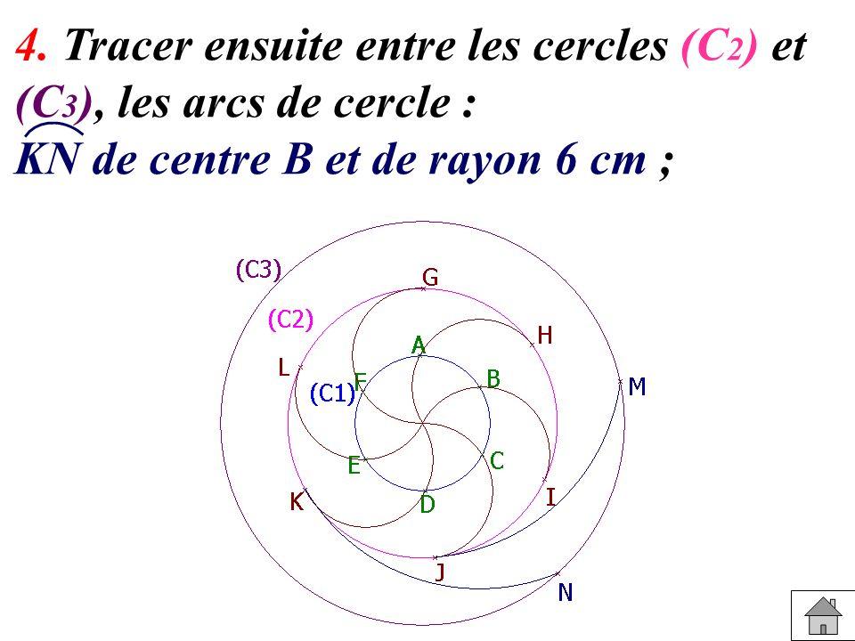 4. Tracer ensuite entre les cercles (C 2 ) et (C 3 ), les arcs de cercle : KN de centre B et de rayon 6 cm ;