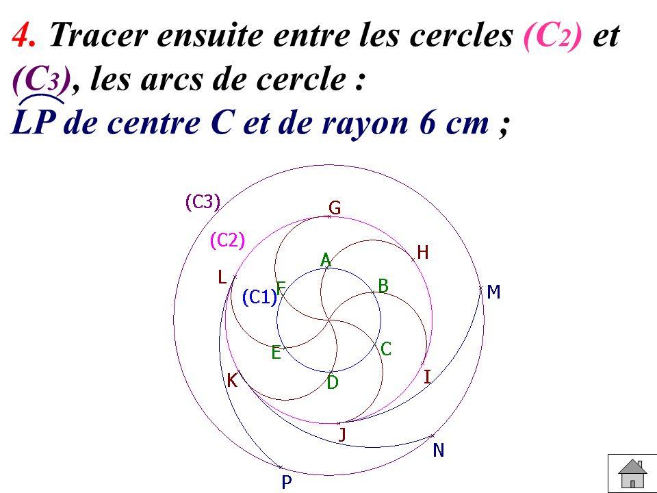 4. Tracer ensuite entre les cercles (C 2 ) et (C 3 ), les arcs de cercle : LP de centre C et de rayon 6 cm ;