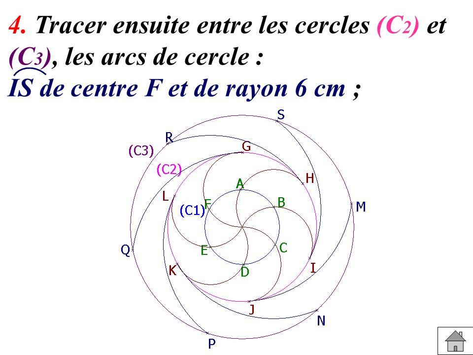 4. Tracer ensuite entre les cercles (C 2 ) et (C 3 ), les arcs de cercle : IS de centre F et de rayon 6 cm ;