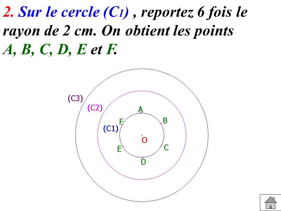2. Sur le cercle (C 1 ), reportez 6 fois le rayon de 2 cm. On obtient les points A, B, C, D, E et F.