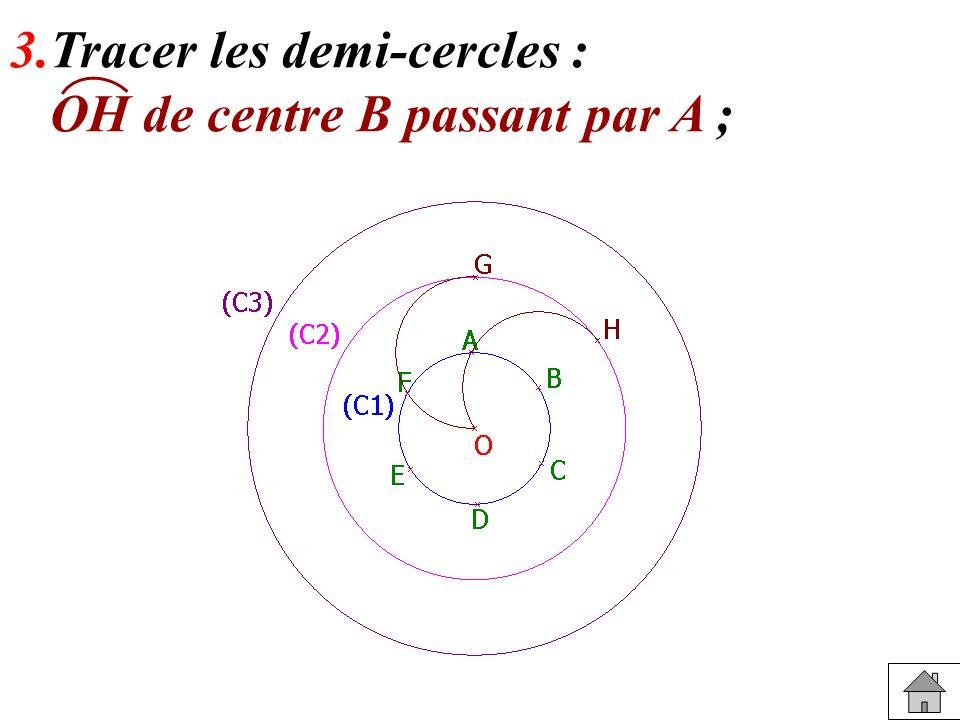 3.Tracer les demi-cercles : OH de centre B passant par A ;