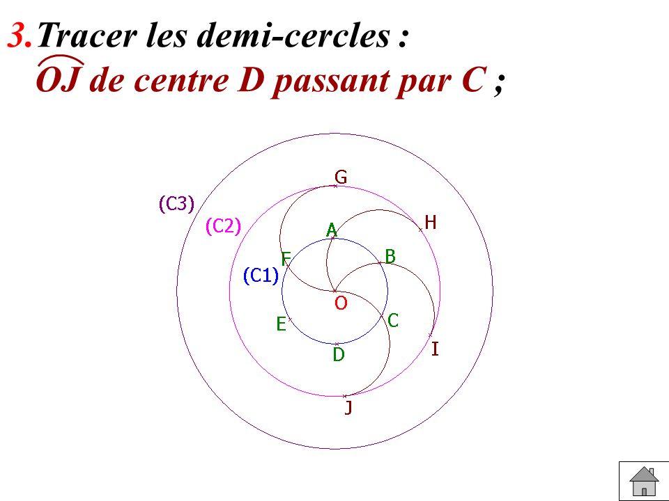 3.Tracer les demi-cercles : OK de centre E passant par D ;