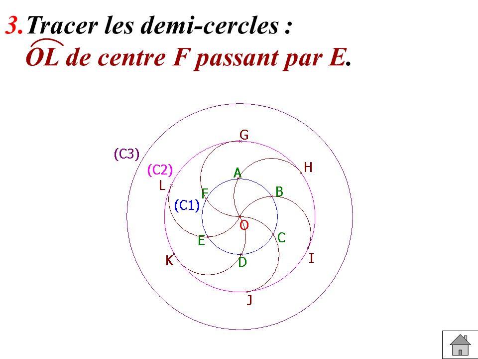 3.Tracer les demi-cercles : OL de centre F passant par E.