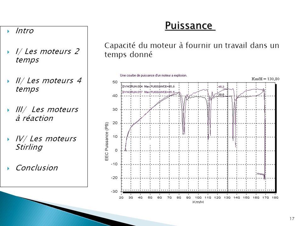 17 Intro I/ Les moteurs 2 temps II/ Les moteurs 4 temps III/ Les moteurs à réaction IV/ Les moteurs Stirling Conclusion Puissance Capacité du moteur à