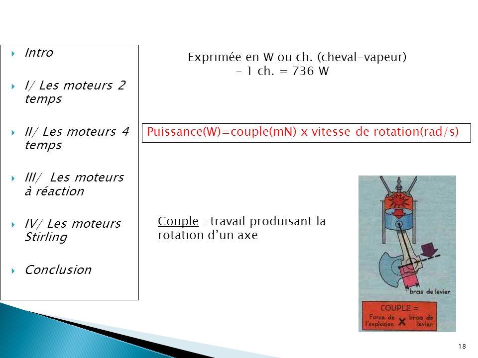 18 Intro I/ Les moteurs 2 temps II/ Les moteurs 4 temps III/ Les moteurs à réaction IV/ Les moteurs Stirling Conclusion Exprimée en W ou ch. (cheval-v