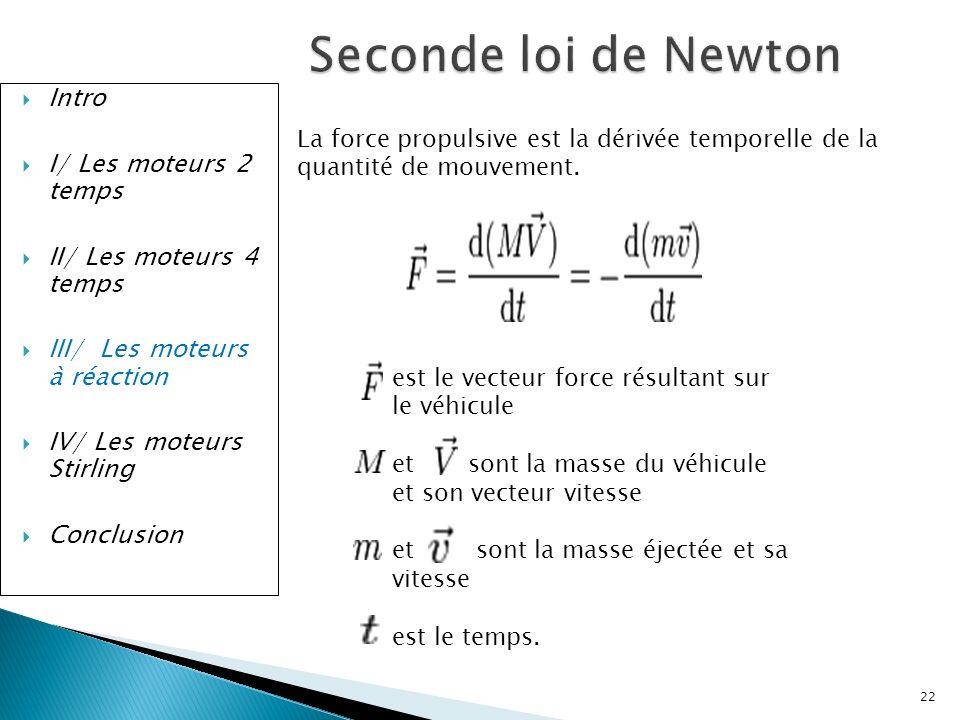 Intro I/ Les moteurs 2 temps II/ Les moteurs 4 temps III/ Les moteurs à réaction IV/ Les moteurs Stirling Conclusion Seconde loi de Newton La force pr