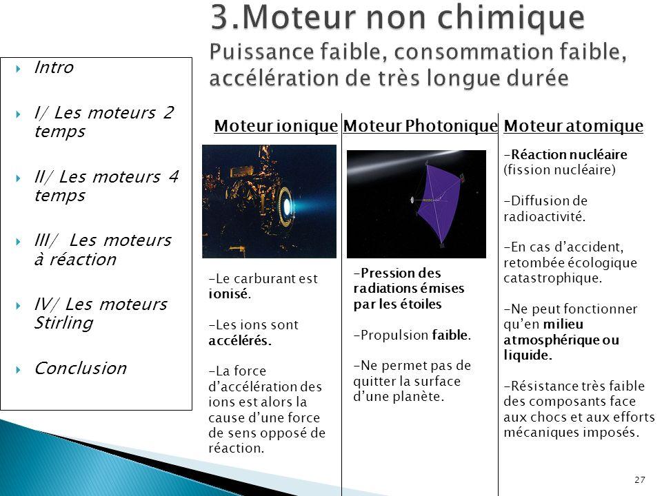 Intro I/ Les moteurs 2 temps II/ Les moteurs 4 temps III/ Les moteurs à réaction IV/ Les moteurs Stirling Conclusion 3.Moteur non chimique Puissance f
