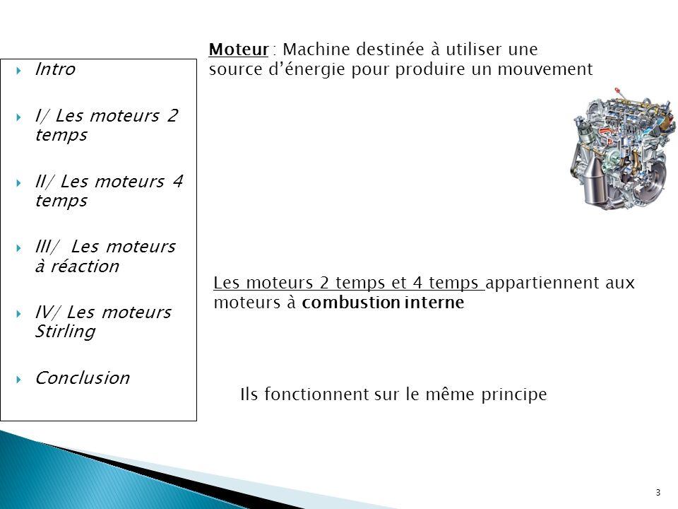 Intro I/ Les moteurs 2 temps II/ Les moteurs 4 temps III/ Les moteurs à réaction IV/ Les moteurs Stirling Conclusion C) Différents Types de réacteurs -Moteur aérobie : Utilise loxygène de lair comme comburant ou oxydant -Moteur anaérobie : Emporte le comburant et le carburant de la réaction -Moteur non chimique : Utilise une réaction non chimique 24