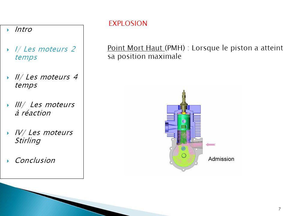7 Intro I/ Les moteurs 2 temps II/ Les moteurs 4 temps III/ Les moteurs à réaction IV/ Les moteurs Stirling Conclusion EXPLOSION Point Mort Haut (PMH)