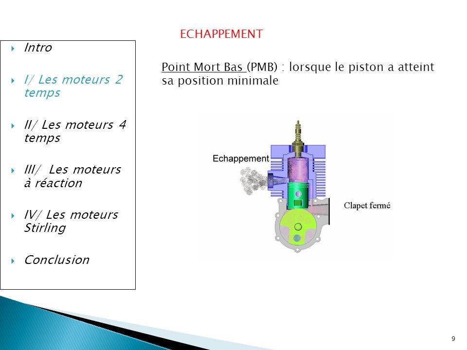 9 Intro I/ Les moteurs 2 temps II/ Les moteurs 4 temps III/ Les moteurs à réaction IV/ Les moteurs Stirling Conclusion ECHAPPEMENT Point Mort Bas (PMB