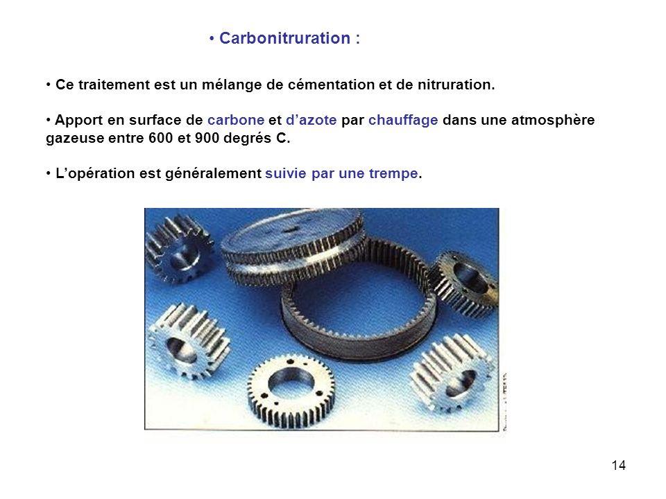 14 Carbonitruration : Ce traitement est un mélange de cémentation et de nitruration. Apport en surface de carbone et dazote par chauffage dans une atm