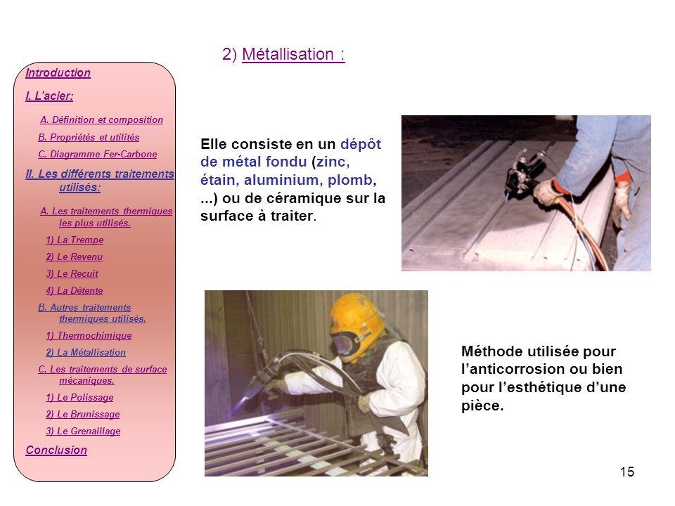 15 2) Métallisation : Elle consiste en un dépôt de métal fondu (zinc, étain, aluminium, plomb,...) ou de céramique sur la surface à traiter. Méthode u