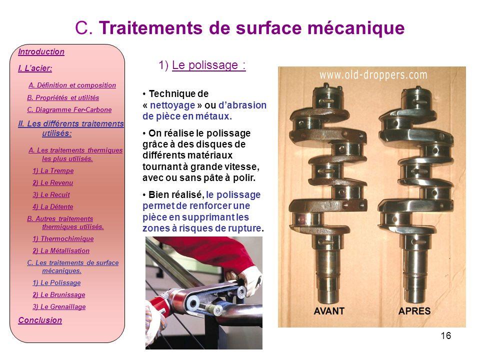 16 C. Traitements de surface mécanique 1) Le polissage : Introduction I. Lacier: A. Définition et composition B. Propriétés et utilités C. Diagramme F