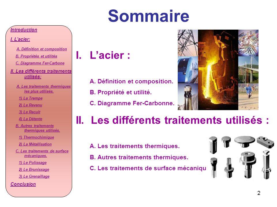 2 Sommaire I.Lacier : A. Définition et composition. B. Propriété et utilité. C. Diagramme Fer-Carbonne. II. Les différents traitements utilisés : A. L