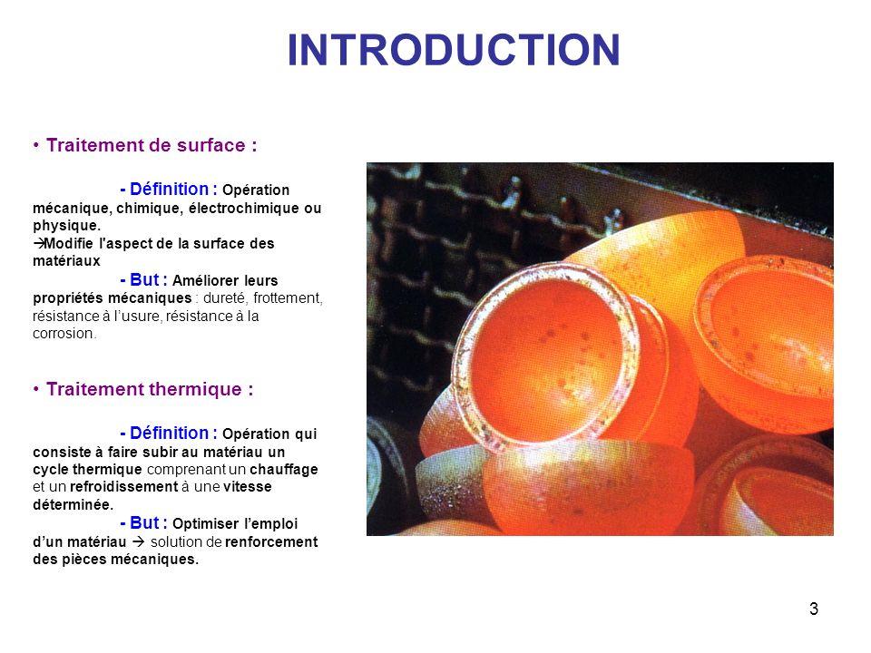 3 INTRODUCTION Traitement de surface : - Définition : Opération mécanique, chimique, électrochimique ou physique. Modifie l'aspect de la surface des m