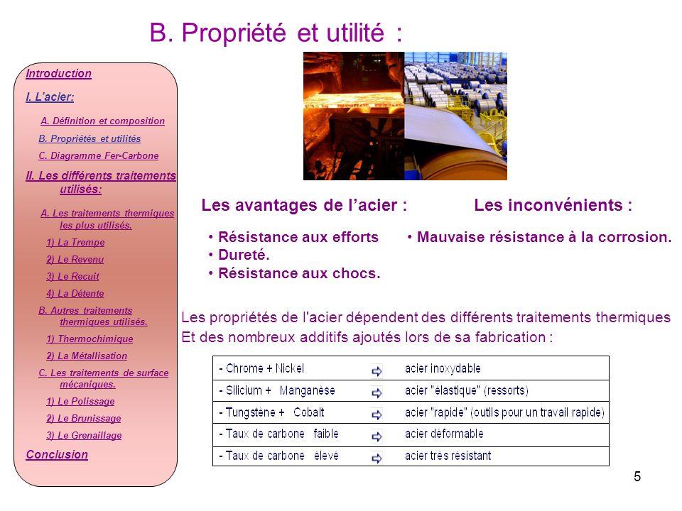 5 B. Propriété et utilité : Les propriétés de l'acier dépendent des différents traitements thermiques Et des nombreux additifs ajoutés lors de sa fabr