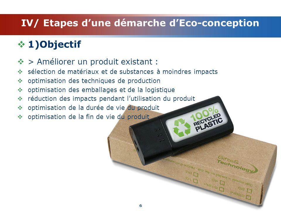 IV/ Etapes dune démarche dEco-conception 1)Objectif > Améliorer un produit existant : sélection de matériaux et de substances à moindres impacts optim