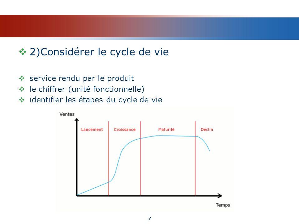 2)Considérer le cycle de vie service rendu par le produit le chiffrer (unité fonctionnelle) identifier les étapes du cycle de vie 7